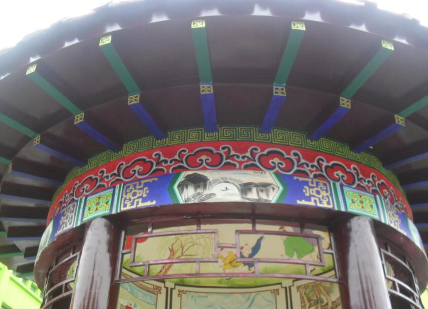 古建筑景墙手绘实拍