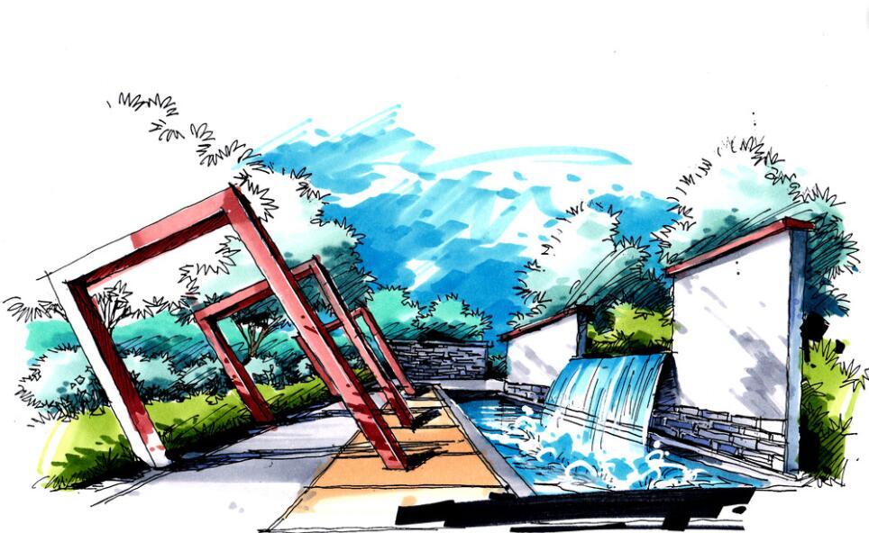 动漫风格景墙手绘设计