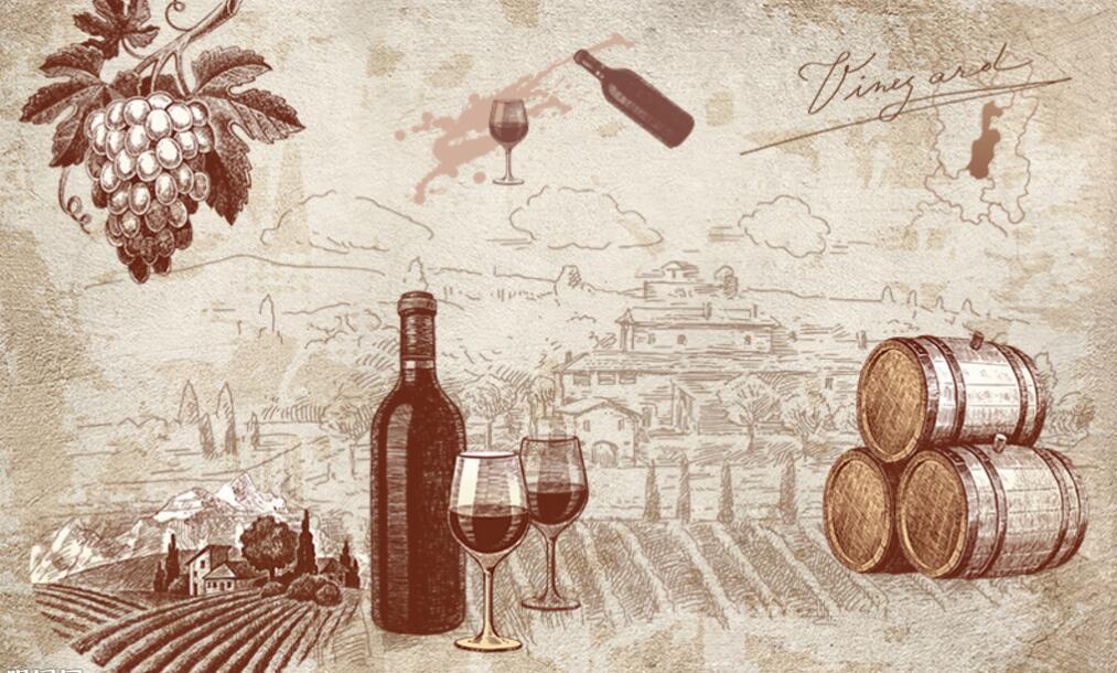 葡萄酒墙绘素材