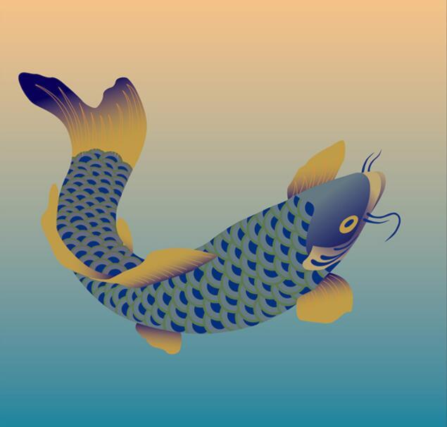 金蓝色鲤鱼墙绘素材