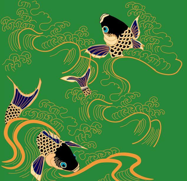 复古中式工笔墙绘鱼