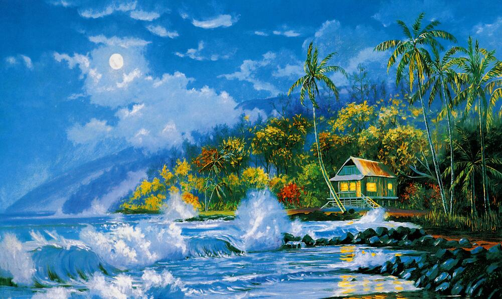 热带风景墙绘