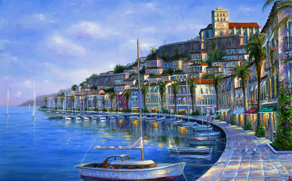 威尼斯小镇风景墙绘
