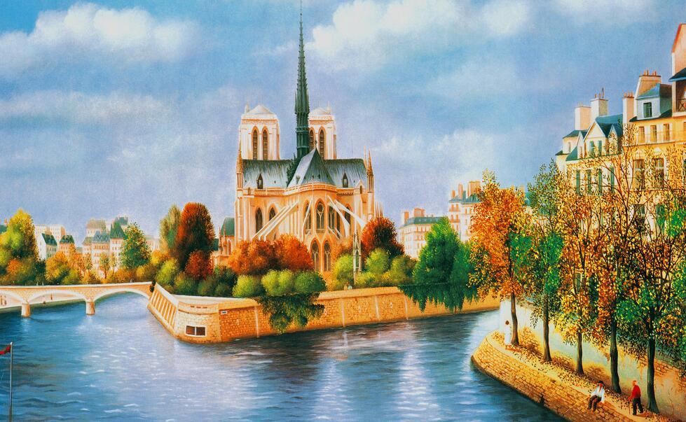 码头风景手绘墙