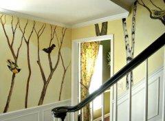 回归自然:居家鸟树墙绘案列赏析