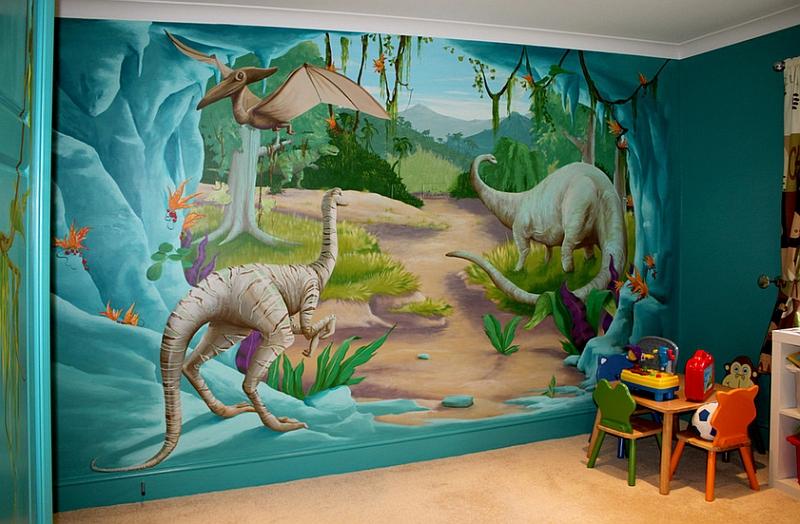 侏罗纪恐龙墙绘主题