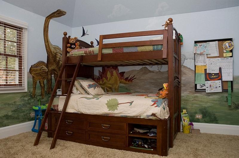 儿童房恐龙手绘墙