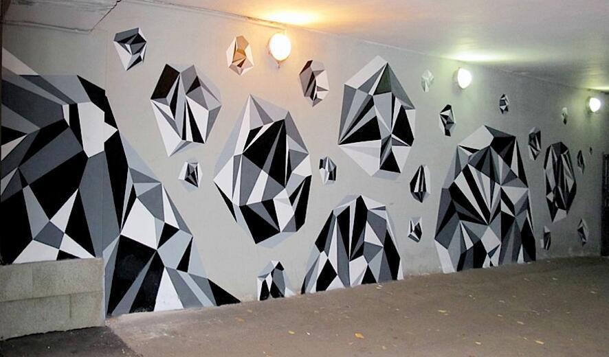 几何钻石墙绘