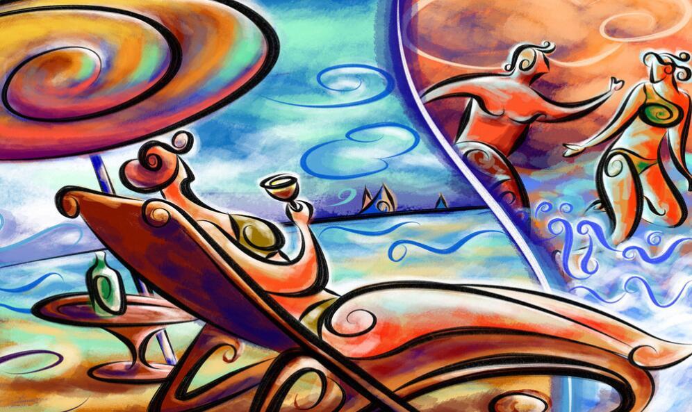 休闲墙绘抽象艺术