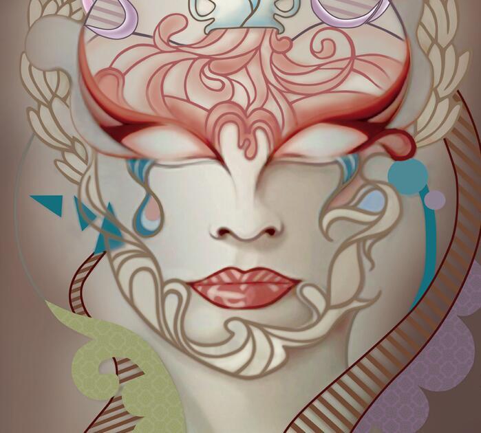 人脸主题抽象墙绘