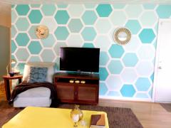 DIY六边形墙绘原来如此简单