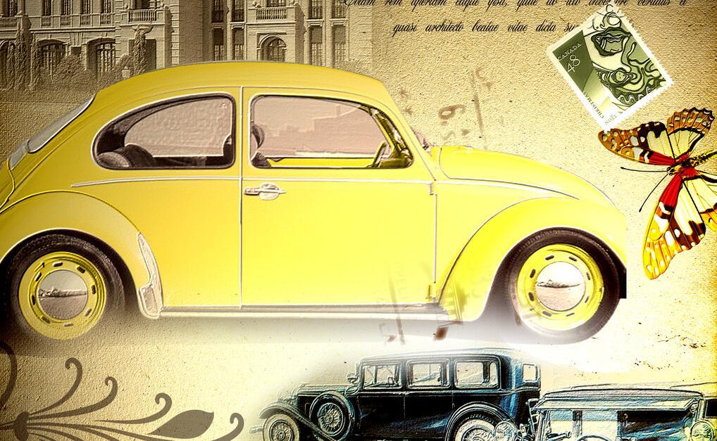 黄色甲壳虫汽车