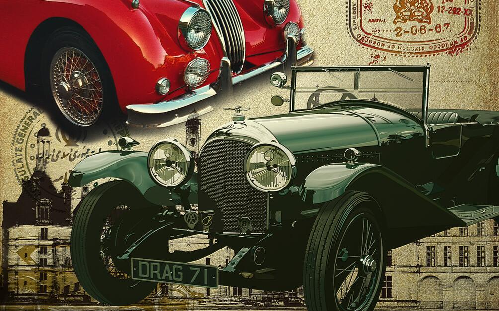 复古经典汽车墙绘素材