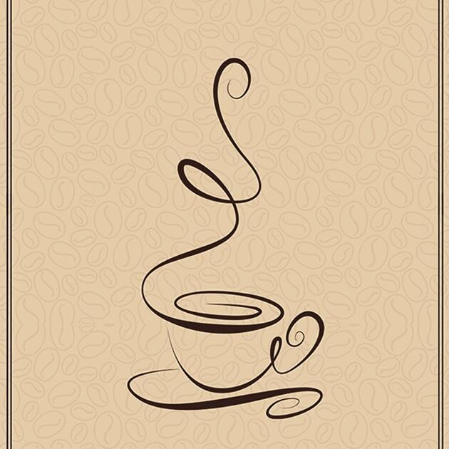线条型咖啡赣州手绘墙