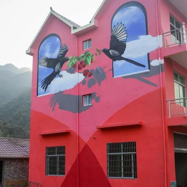 喜鹊手绘墙