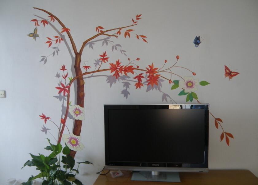 简约枫叶主题墙绘素材