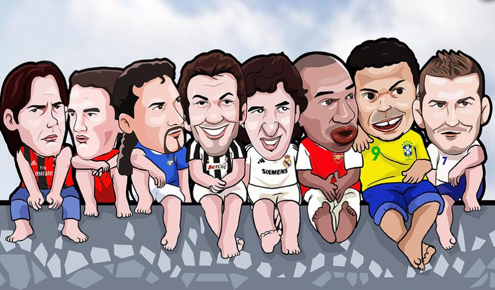 个性卡通足球明星墙绘