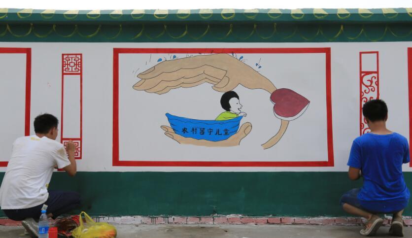 手绘墙绘制现场