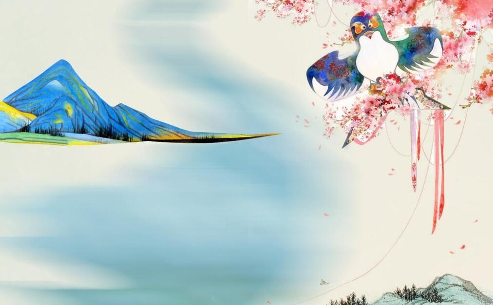 现代花鸟墙绘颜色搭配