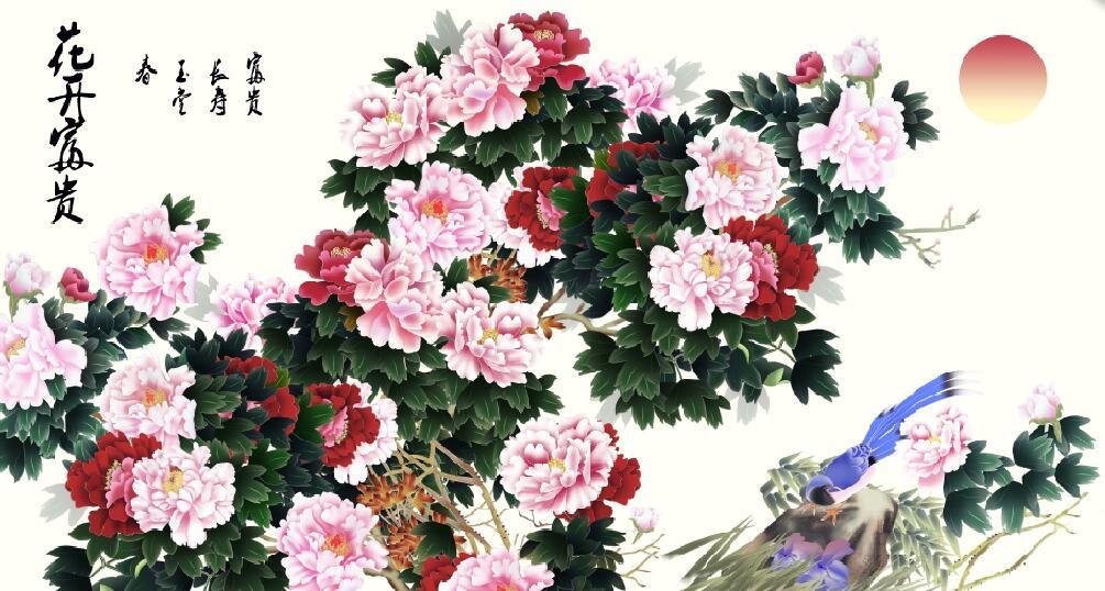 工笔装修牡丹主题墙绘