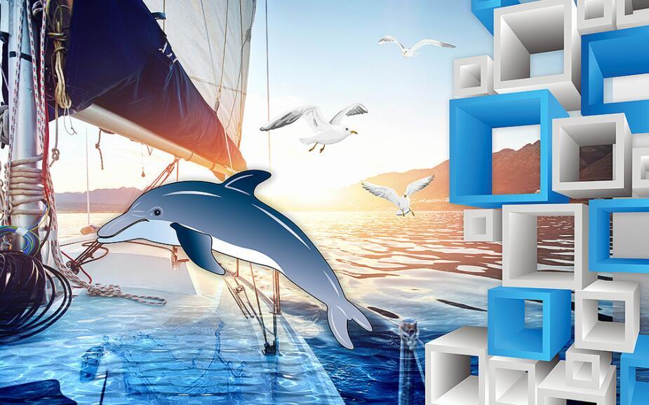 海豚主题海洋墙绘