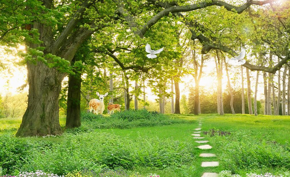 绿色森林墙绘素材