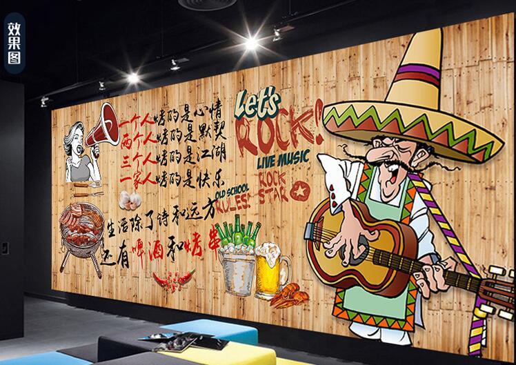 创意餐厅类手绘墙