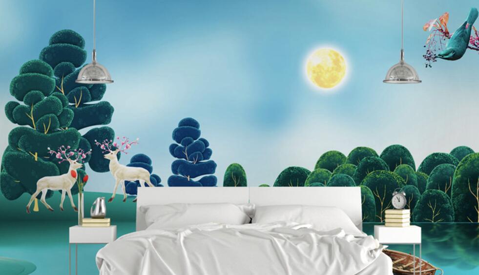 鸟语主题卧室墙绘