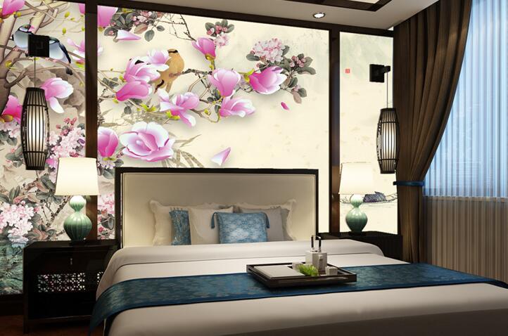 中式风格卧室手绘墙