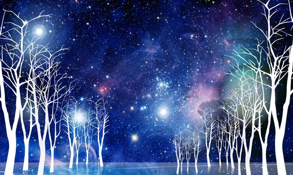 森林星空墙绘浪漫主题