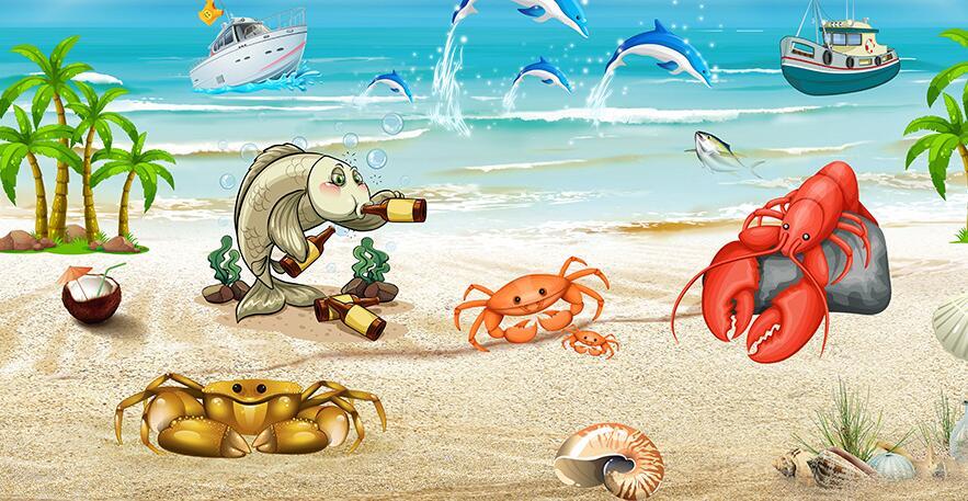 漫画类型海边龙虾墙绘主题