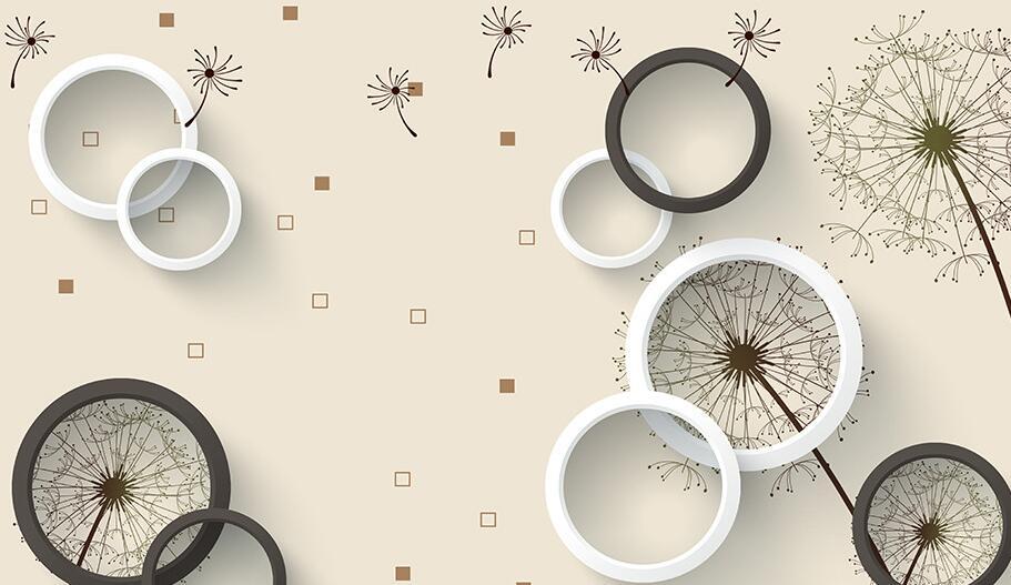 现代时尚蒲公英3D墙绘