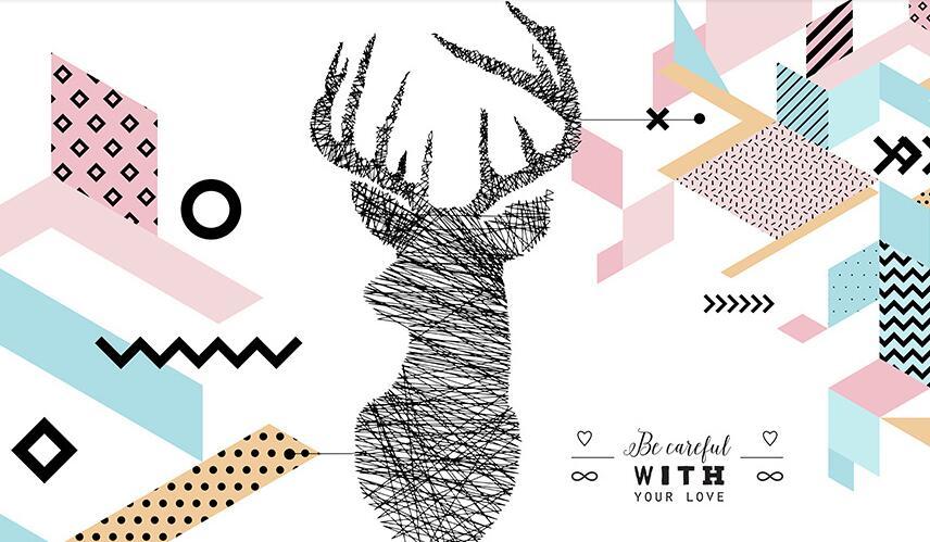麋鹿时尚抽象手绘素材