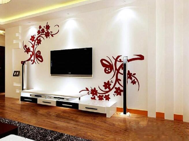 丙烯颜料墙绘电视墙