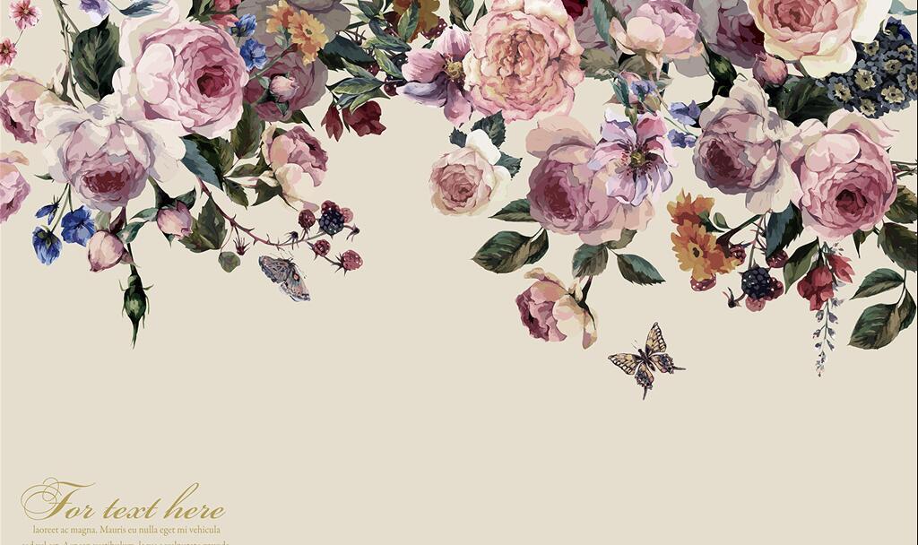 大型复古欧式玫瑰花卉墙绘