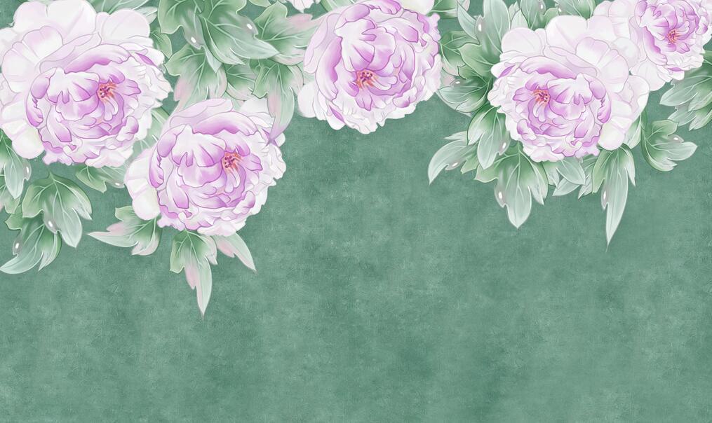 手绘花卉墙绘艺术背景墙