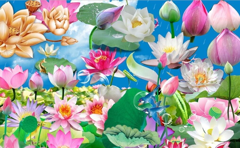 多彩现代荷花墙绘写真