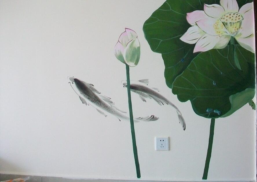 室内荷花墙绘成品图片