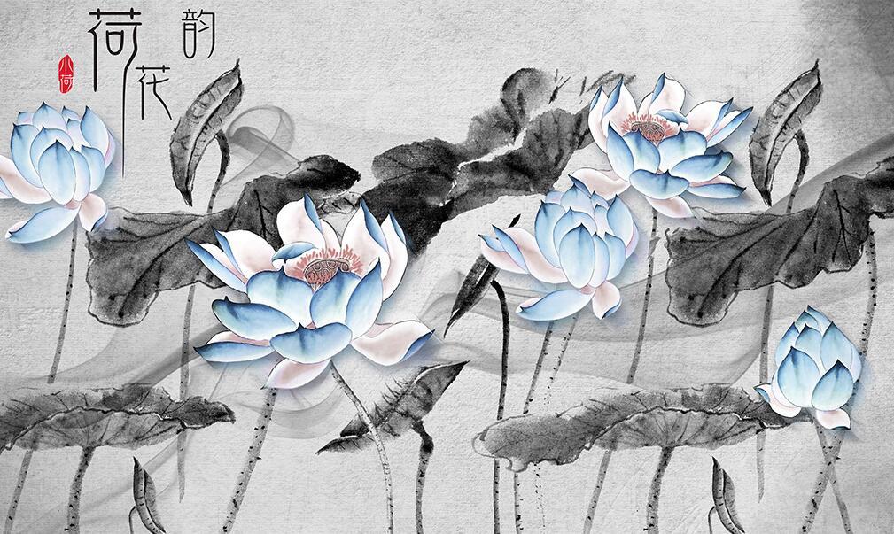 新中式水墨国画蓝色荷花墙绘素材