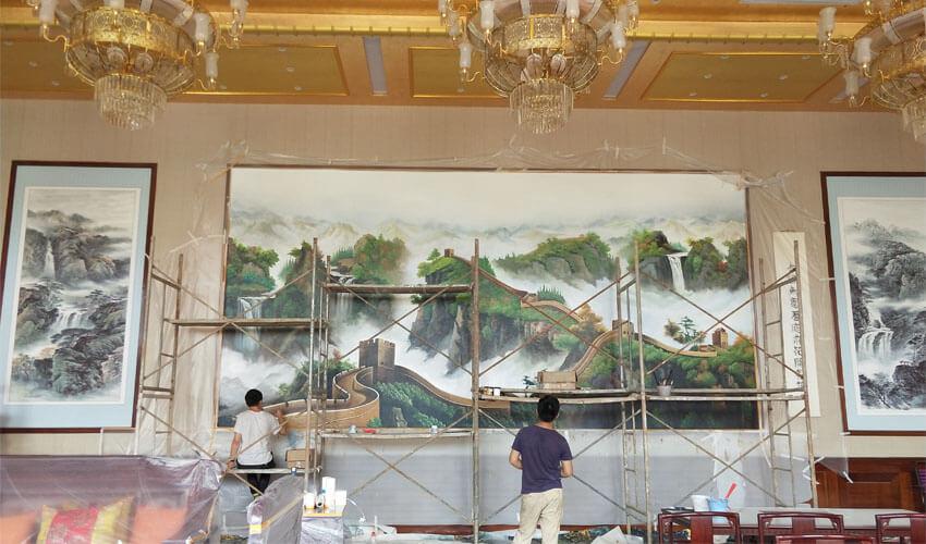 酒店大型壁画施工