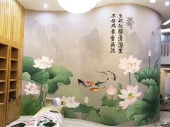 荷塘月色主题酒店前台墙绘壁画