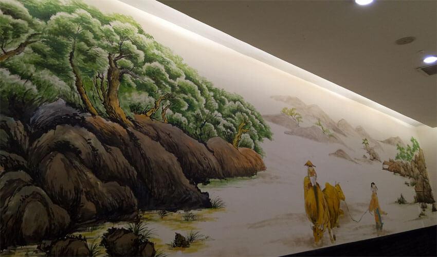 手绘中国风酒店走廊壁画墙绘