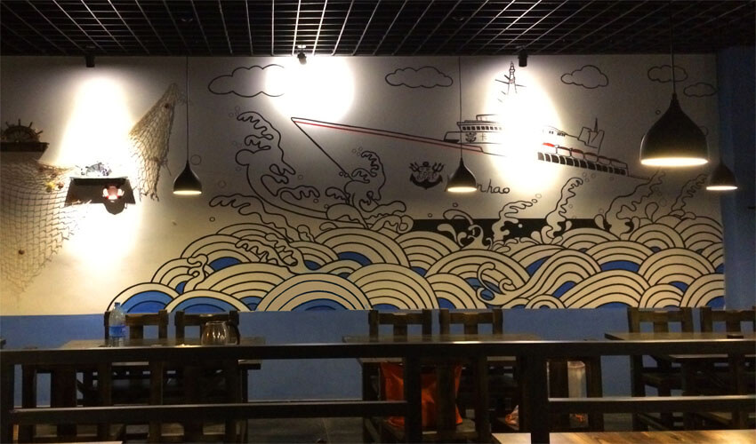浪潮主题火锅店墙绘壁画
