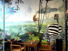 侏罗纪风格餐厅墙绘彩绘壁画