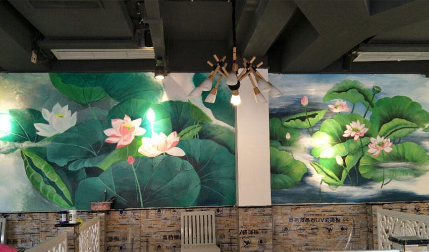 小清新荷花主题餐厅墙绘壁画