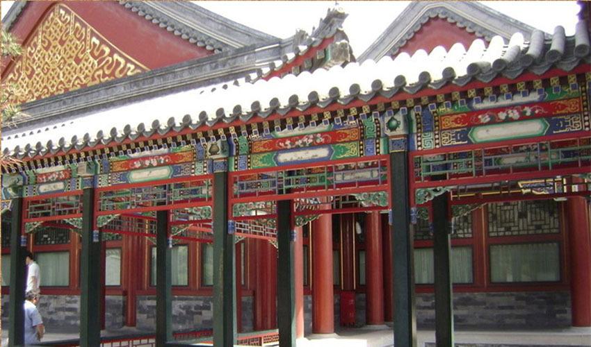 祠堂走廊古建筑彩绘