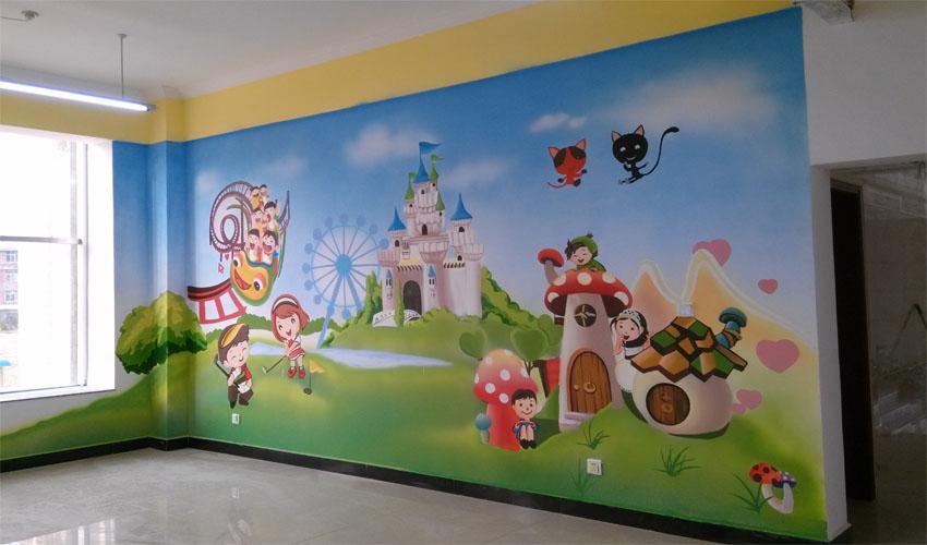 幼儿园室内3D卡通彩绘壁画
