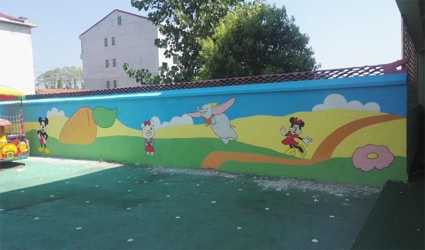 幼儿园围墙米老鼠3D彩绘