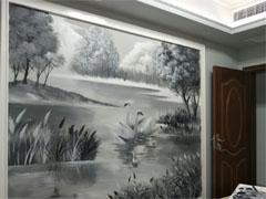 黑白复古天鹅湖主题电视背景墙绘