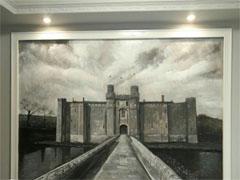 欧式复古风客厅电视背景壁画墙绘